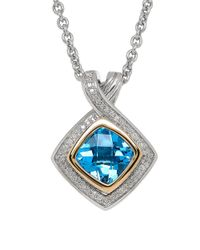 Lord & Taylor | Blue Topaz And 14k Yellow Gold Pendant Necklace | Lyst