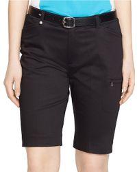 Lauren by Ralph Lauren | Black Stretch Cotton Golf Shorts | Lyst