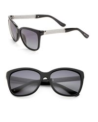 Jimmy Choo | Black Cora 56mm Square Sunglasses | Lyst