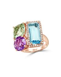 Effy | Pink Mosaic Diamond, Semi-precious, Multi-stone And 14k Rose Gold Ring | Lyst