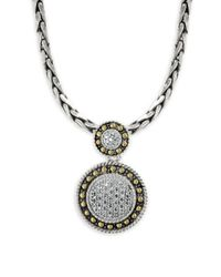 Effy - Metallic 18k Yellow Gold, 925 Sterling Silver And Diamond Pendant Necklace - Lyst