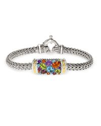 Effy | Multicolor Semi-precious, Multi-stone Sterling Silver And 18k Yellow Gold Barrel Bracelet | Lyst