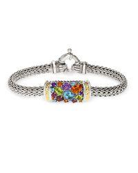 Effy - Multicolor Semi-precious, Multi-stone Sterling Silver And 18k Yellow Gold Barrel Bracelet - Lyst