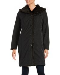 Ellen Tracy - Black Reversible Faux Fur Coat - Lyst