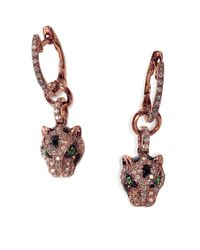 Effy | Metallic Signature Diamond, Tsavorite And 14k Rose Gold Leopard Drop Earrings | Lyst