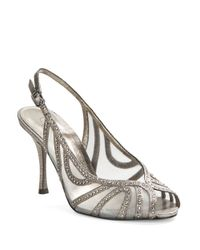 Adrianna Papell | Metallic Fiji Embellished Slingback Pumps | Lyst