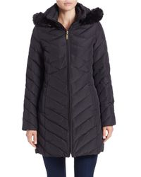 Ellen Tracy | Black Faux Fur-trimmed Quilted Coat | Lyst