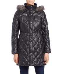 Guess - Black Faux Fur-trimmed Quilted Jacket - Lyst