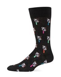 Hot Sox | Black Bulldog Tie Crew Socks for Men | Lyst