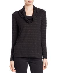 Lord & Taylor | Black Metallic Cowl-neck Sweater | Lyst