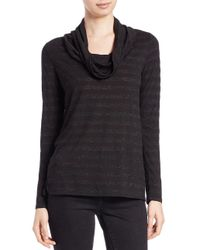Lord & Taylor - Black Petite Metallic Cowl-neck Sweater - Lyst