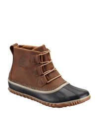 Sorel | Natural Out And About Leather And Rubber Ankle Boots | Lyst