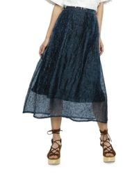 Nikki Chasin - Blue Puzzle-patterned Silk Skirt - Lyst