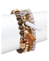 Lord & Taylor | Brown Beaded Bracelet Set | Lyst