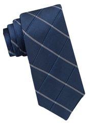 Calvin Klein   Blue Silk-blend Windowpane Tie for Men   Lyst
