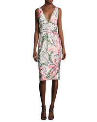 Kay Unger - White Sleeveless Floral Cocktail Dress - Lyst