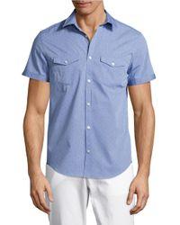 Calvin Klein | Blue Textured Casual Button-down Shirt for Men | Lyst