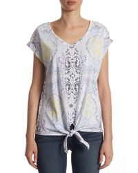 Lord & Taylor - Multicolor Printed Tie Front Tee - Lyst