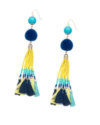 Lord & Taylor - Blue Pompom And Fringe Accented Drop Earrings - Lyst
