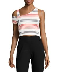 Lord & Taylor | White Striped One-sleeved Crop Top | Lyst