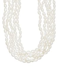 Lord & Taylor | 5-17.75mm Five-strand White Freshwater Pearl Necklace | Lyst