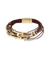 Kenneth Cole - Brown Mixed Beaded Multi Row Leather Bracelet - Lyst