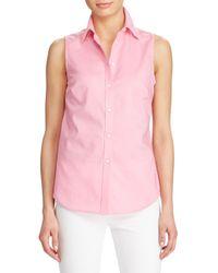 Lauren by Ralph Lauren - Pink Sleeveless Button-front Blouse - Lyst