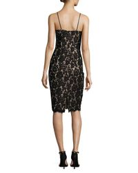 Vince Camuto - Black Floral Lace Sheath Dress With Scarf - Lyst
