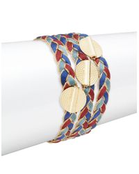 Lord & Taylor - Blue Braided Disc Accented Bracelet - Lyst