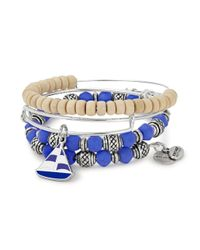ALEX AND ANI | Blue Sailboat Seas The Day Charm Bangle/set Of 3 | Lyst