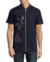 Laboratory Lt Man - Blue Embroidered Zip-up Shirt for Men - Lyst