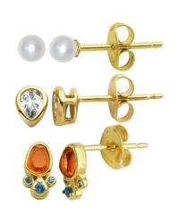 Lord & Taylor - Metallic White Opal, Synthetic Orange Coral And Sterling Silver Stud Earrings Set - Lyst
