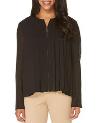 Rafaella | Black Pleated Zip-front Blouse | Lyst