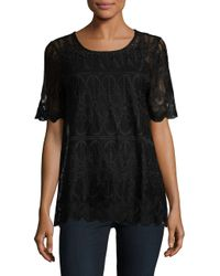 Rafaella | Black Scalloped Lace Top | Lyst
