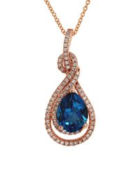 Effy | Final Call Diamond, London Blue And 14k Rose Gold Pendant Necklace | Lyst