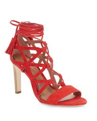Elie Tahari   Red Hurricane Suede Lace-up Cage Pumps   Lyst