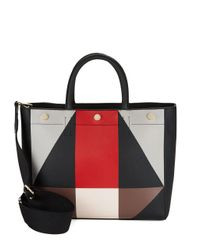 Calvin Klein | Black Geometric Faux Leather Tote | Lyst