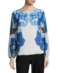 Calvin Klein - White Floral Long-sleeve Blouse - Lyst