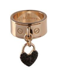 BCBGeneration - Metallic Keys To My Heart Crystal Heart Charm Ring - Lyst