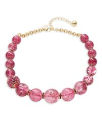 Kate Spade - Pink Stone Bauble Necklace - Lyst