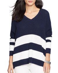 Lauren by Ralph Lauren | Blue Draped Striped Cotton Sweater | Lyst