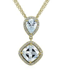 Lord & Taylor | Metallic Cz And Sterling Silver Double Drop Pendant Necklace | Lyst