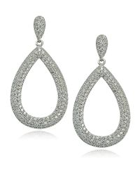 Lord & Taylor | Metallic Sterling Silver And Cubic Zirconia Teardrop Hoop Earrings | Lyst