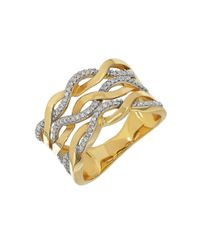 Lord & Taylor | Metallic Diamond And 14k Yellow Gold Wave Ring | Lyst