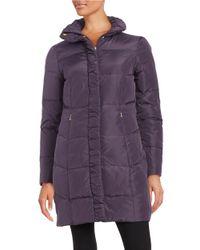 Ellen Tracy | Purple Quilted Faux Fur-lined Jacket | Lyst
