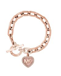 Michael Kors   Metallic Logo Heart Charm Pavé Toggle Bracelet   Lyst