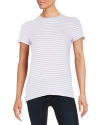 Lord & Taylor   White Petite Striped Tee   Lyst