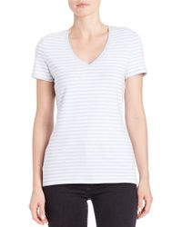 Lord & Taylor | Black Plus Striped Stretch-cotton Tee | Lyst