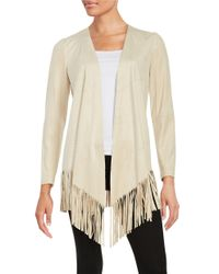 Tahari | Natural Faux Suede Open-front Topper | Lyst