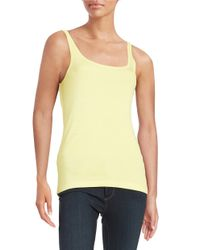 Lord & Taylor | Yellow Ribbed Cotton Tank | Lyst